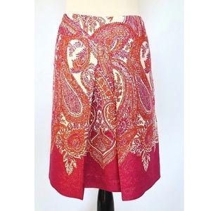 ANN TAYLOR Orange Pink Metallic Paisley SKIRT 6
